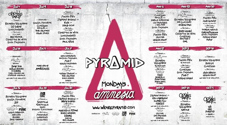 Amnesia Ibiza Pyramid Mondays line-ups 2018