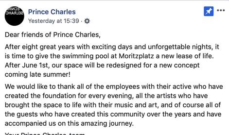 Prince Charles Berlin closure May 2019