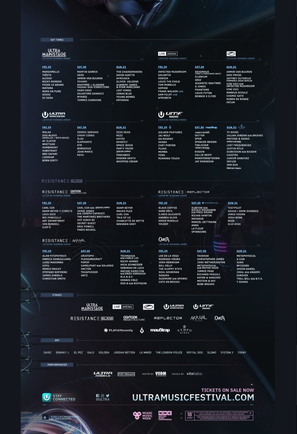 Ultra Miami 2019 Full Line Up