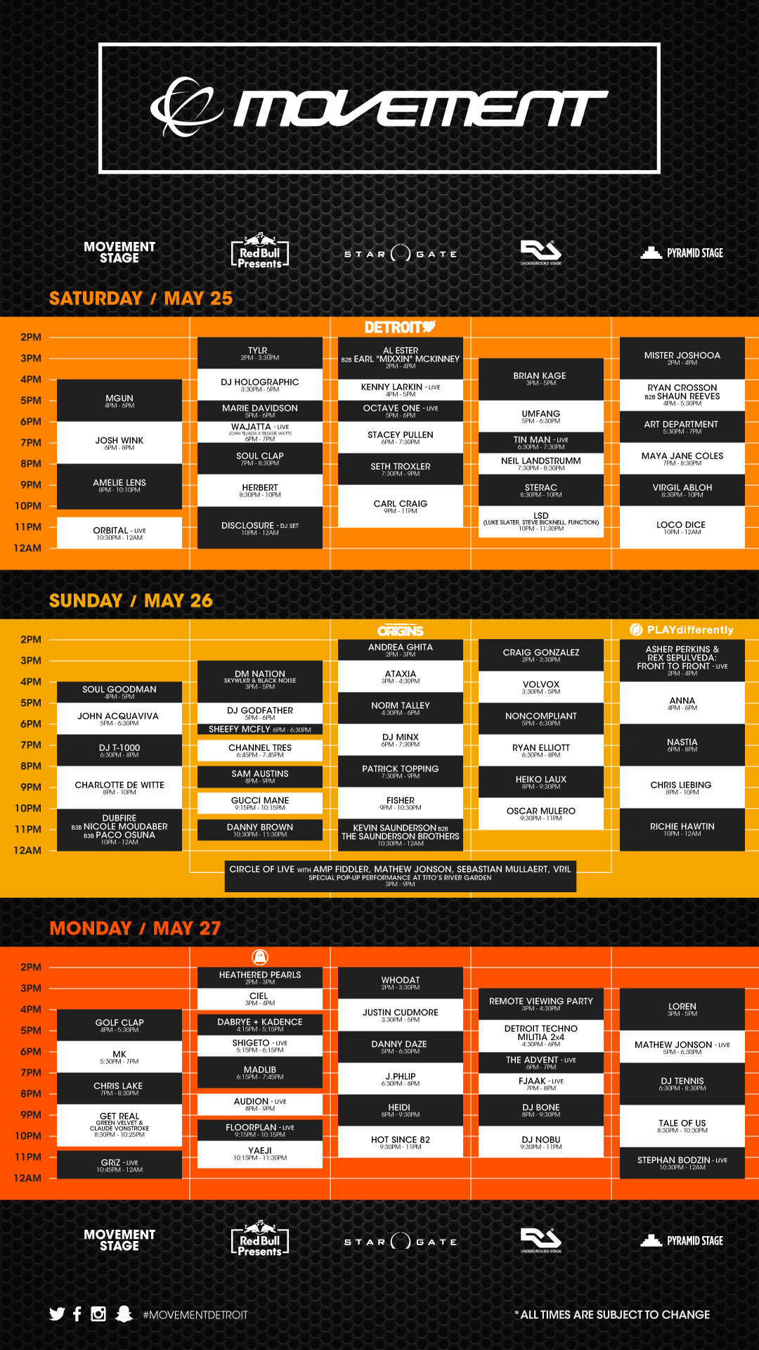 Movement Detroit full schedule 2019