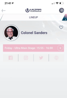 KFC's Colonel Sanders has been announced for Ultra's main