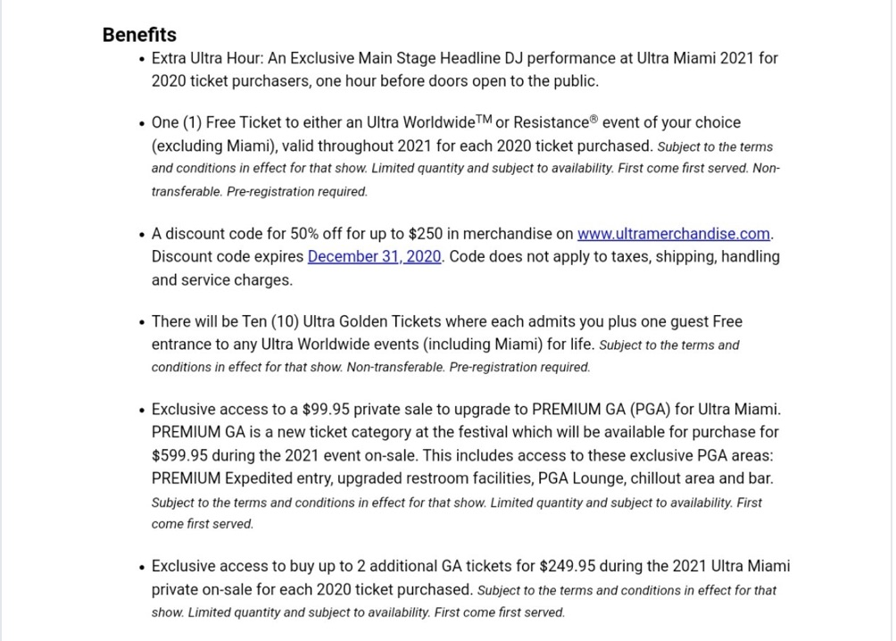 Ultra Music Festival 2020 cancellation ticket offer