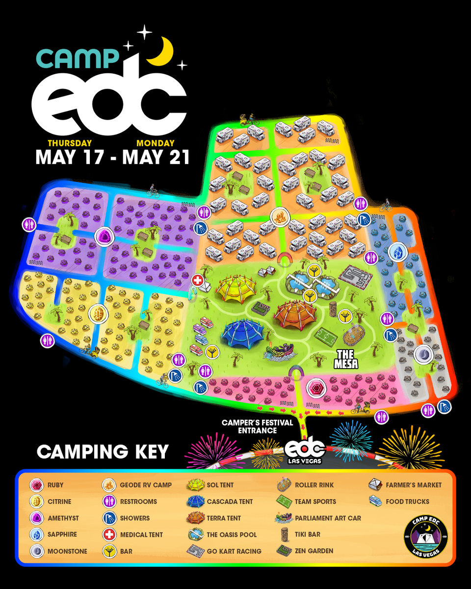 EDC unveils map and details for its campsite at EDC Las Vegas 2018.