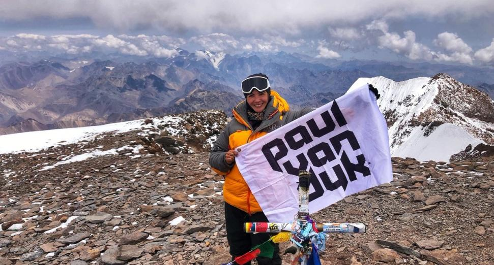 Paul van Dyk's wife takes flag to summit of highest point in South America
