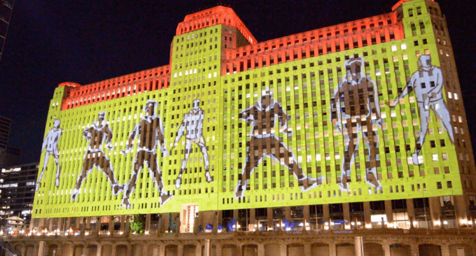 Footwork film projections displayed on Chicago's iconic Merchandise Mart