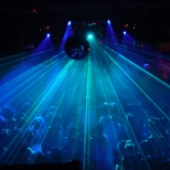 Crowd and laser